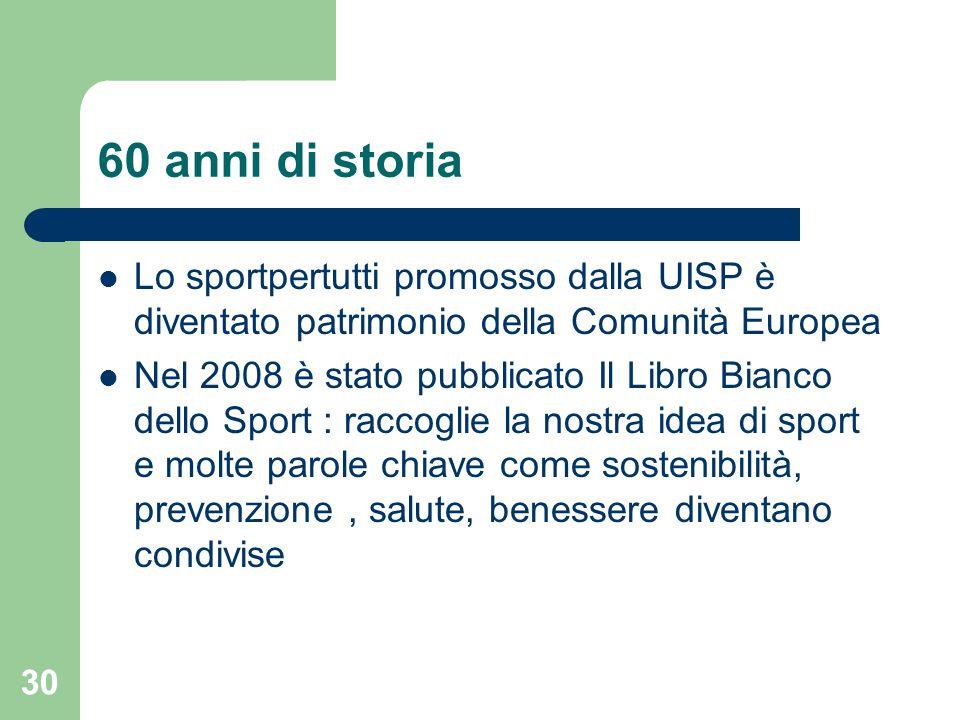 60 anni di storia Lo sportpertutti promosso dalla UISP è diventato patrimonio della Comunità Europea Nel 2008 è stato pubblicato Il Libro Bianco dello