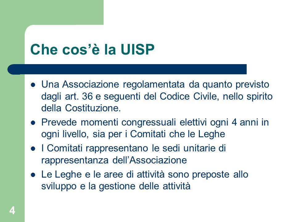 Che cos'è la UISP Una Associazione regolamentata da quanto previsto dagli art. 36 e seguenti del Codice Civile, nello spirito della Costituzione. Prev
