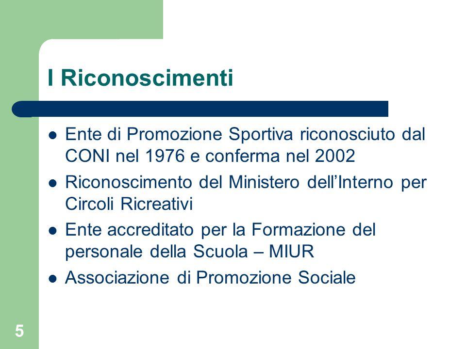 I Riconoscimenti Ente di Promozione Sportiva riconosciuto dal CONI nel 1976 e conferma nel 2002 Riconoscimento del Ministero dell'Interno per Circoli