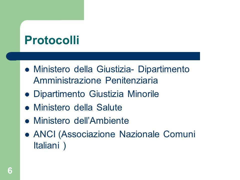 Protocolli Ministero della Giustizia- Dipartimento Amministrazione Penitenziaria Dipartimento Giustizia Minorile Ministero della Salute Ministero dell