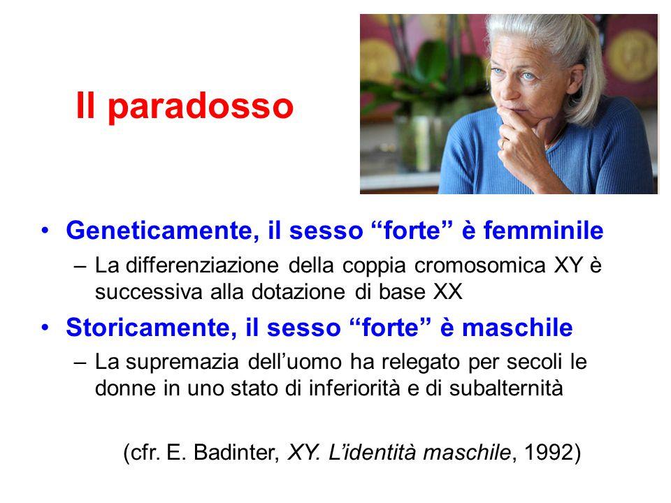 """Il paradosso Geneticamente, il sesso """"forte"""" è femminile –L–La differenziazione della coppia cromosomica XY è successiva alla dotazione di base XX Sto"""