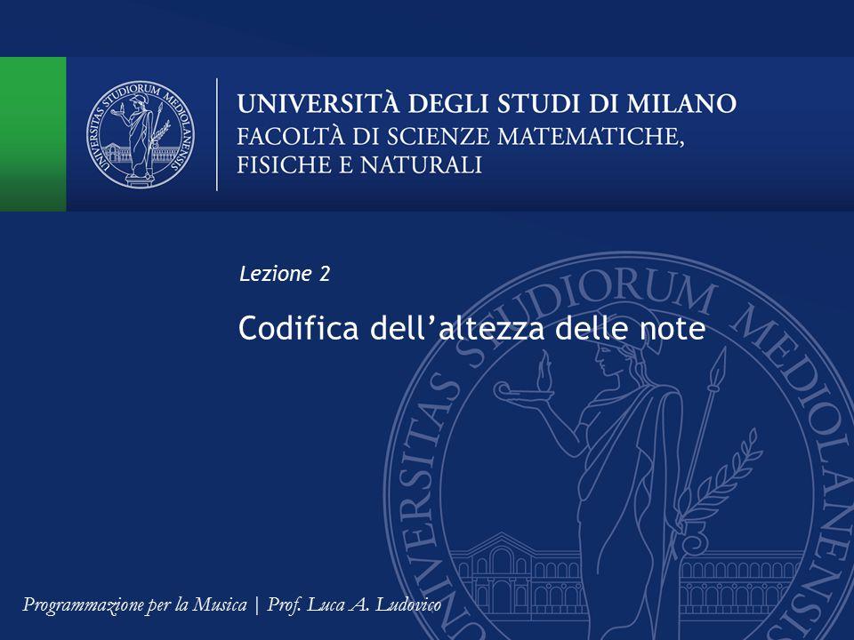 Codifica dell'altezza delle note Lezione 2 Programmazione per la Musica | Prof. Luca A. Ludovico