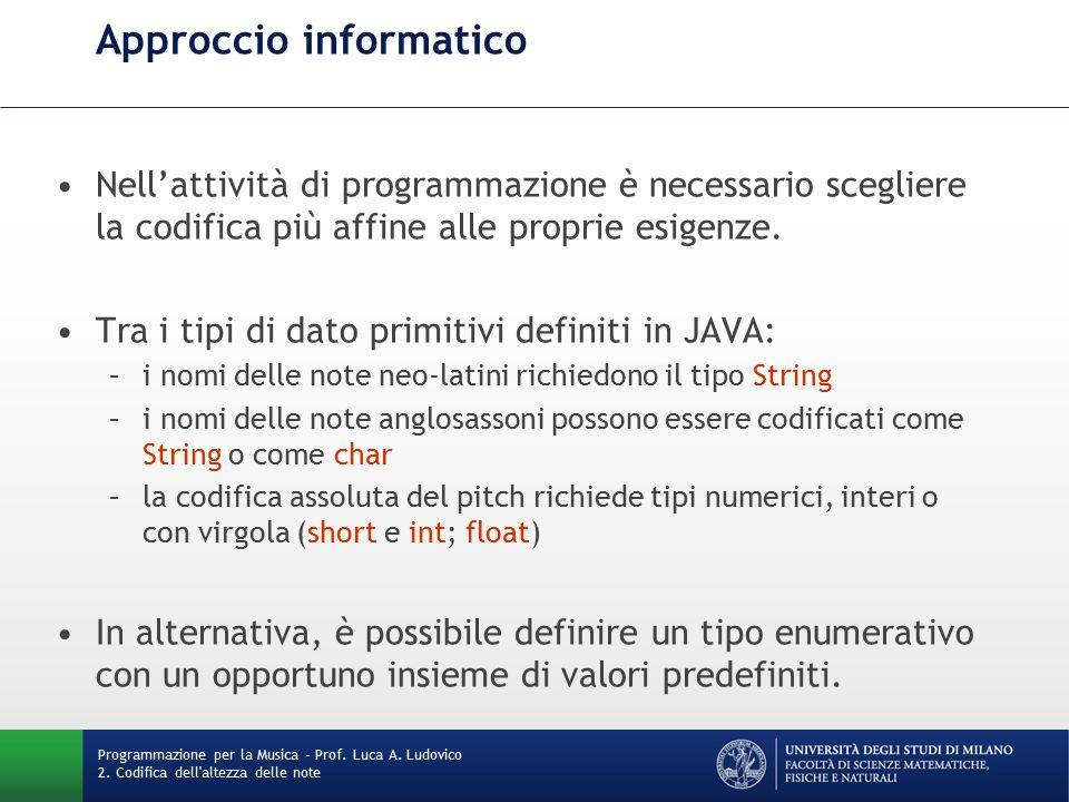 Approccio informatico Nell'attività di programmazione è necessario scegliere la codifica più affine alle proprie esigenze.