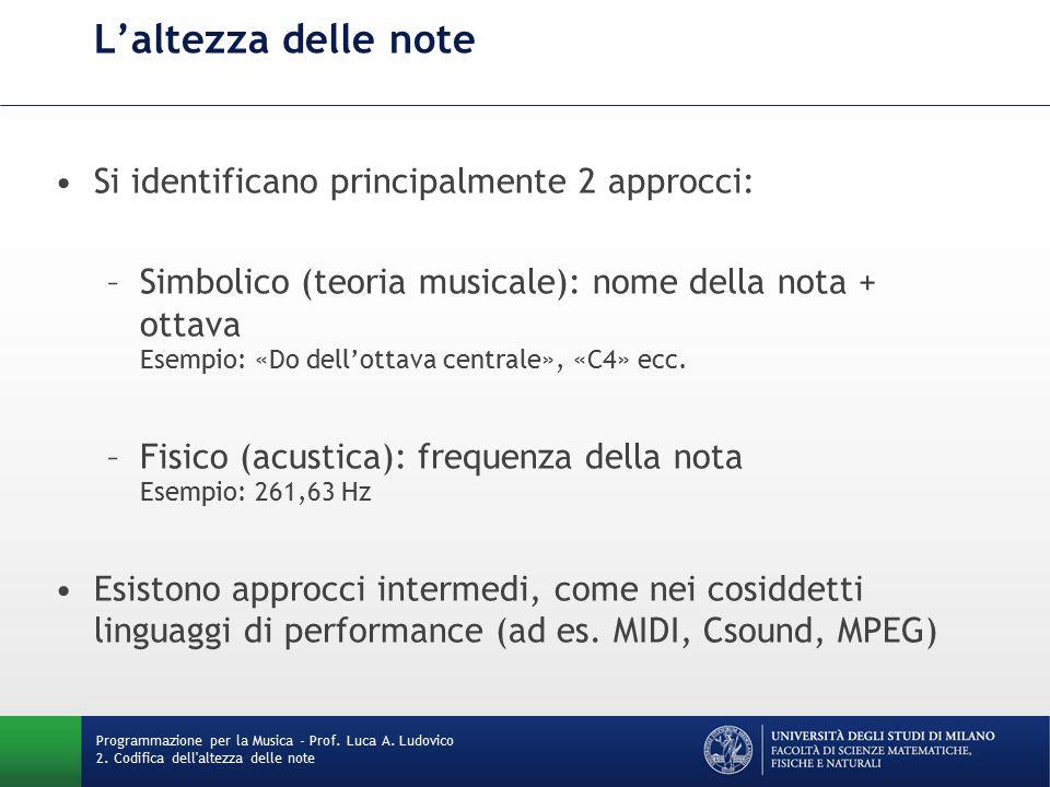 L'altezza delle note Si identificano principalmente 2 approcci: –Simbolico (teoria musicale): nome della nota + ottava Esempio: «Do dell'ottava centrale», «C4» ecc.