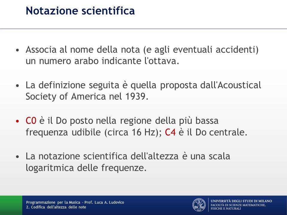 Notazione scientifica Associa al nome della nota (e agli eventuali accidenti) un numero arabo indicante l ottava.