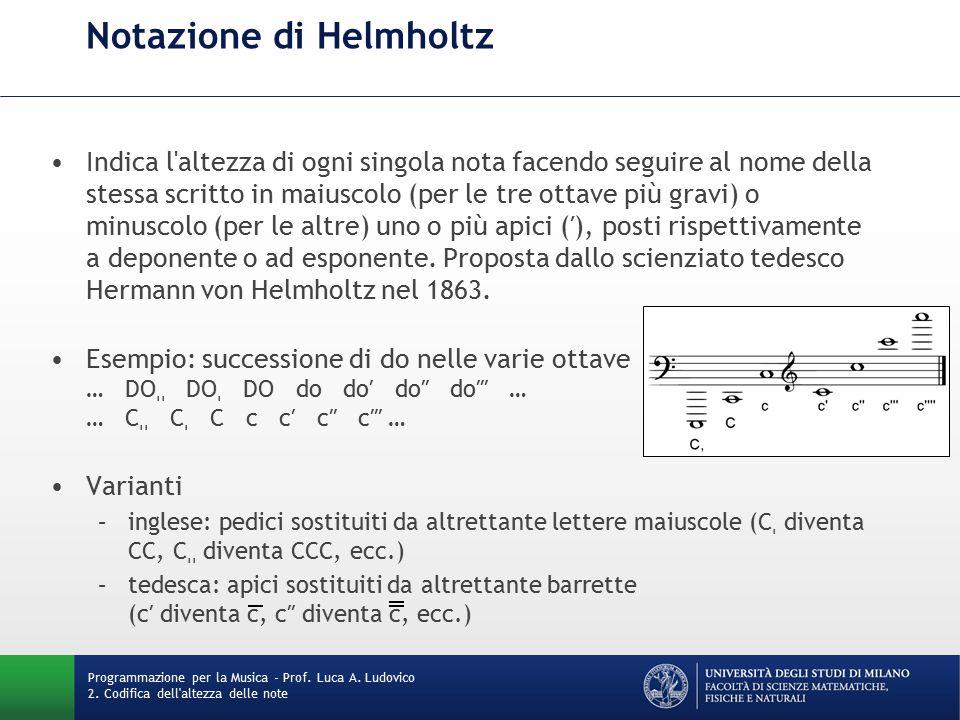 Notazione di Helmholtz Indica l altezza di ogni singola nota facendo seguire al nome della stessa scritto in maiuscolo (per le tre ottave più gravi) o minuscolo (per le altre) uno o più apici (′), posti rispettivamente a deponente o ad esponente.