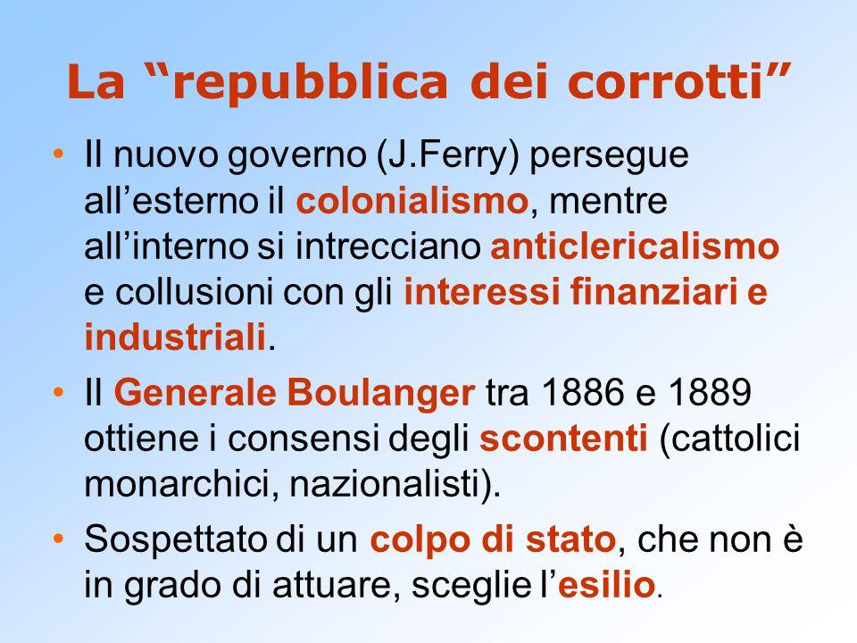 La repubblica dei corrotti Il nuovo governo (J.Ferry) persegue all'esterno il colonialismo, mentre all'interno si intrecciano anticlericalismo e collusioni con gli interessi finanziari e industriali.