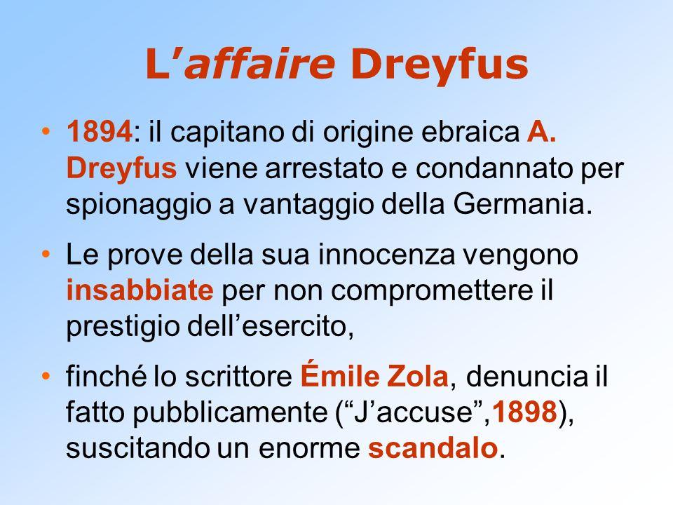 L'affaire Dreyfus 1894: il capitano di origine ebraica A. Dreyfus viene arrestato e condannato per spionaggio a vantaggio della Germania. Le prove del