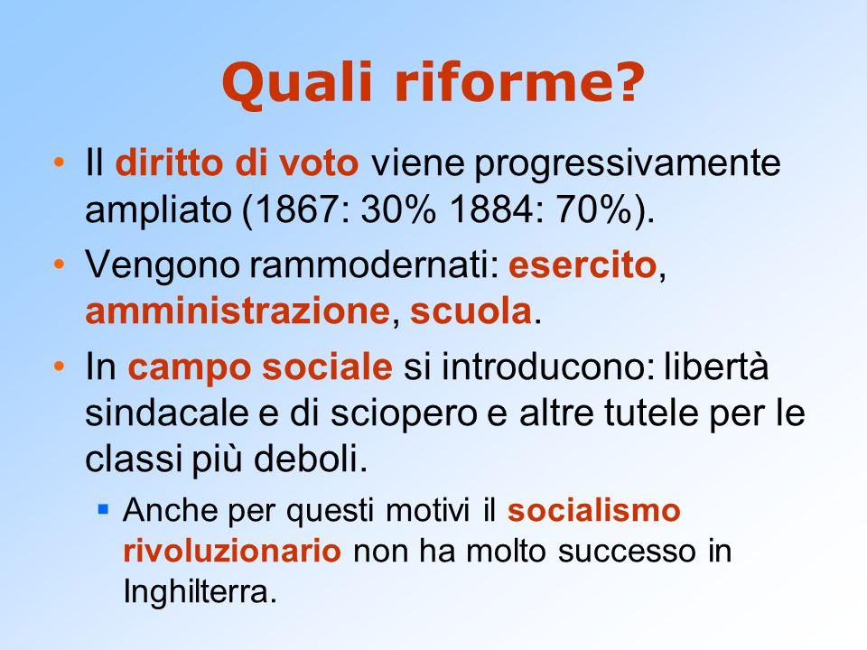 Quali riforme.Il diritto di voto viene progressivamente ampliato (1867: 30% 1884: 70%).