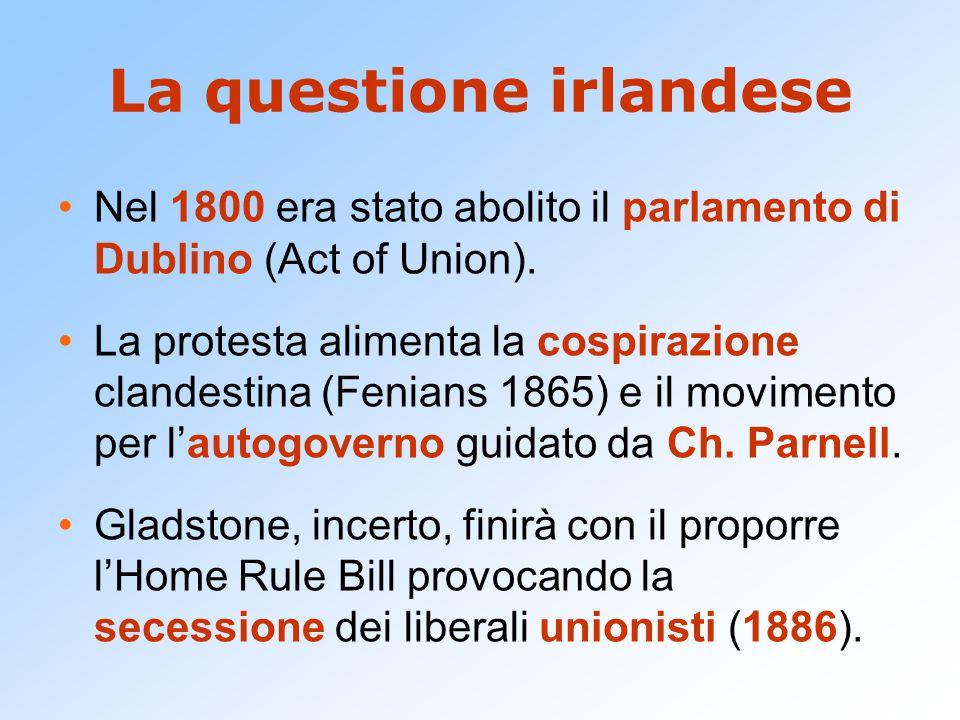 La questione irlandese Nel 1800 era stato abolito il parlamento di Dublino (Act of Union). La protesta alimenta la cospirazione clandestina (Fenians 1