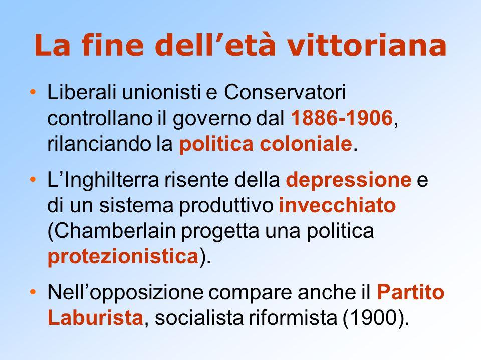 La fine dell'età vittoriana Liberali unionisti e Conservatori controllano il governo dal 1886-1906, rilanciando la politica coloniale. L'Inghilterra r