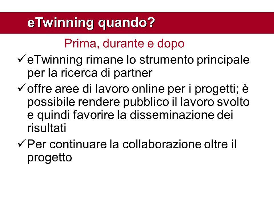 Prima, durante e dopo eTwinning rimane lo strumento principale per la ricerca di partner offre aree di lavoro online per i progetti; è possibile rende