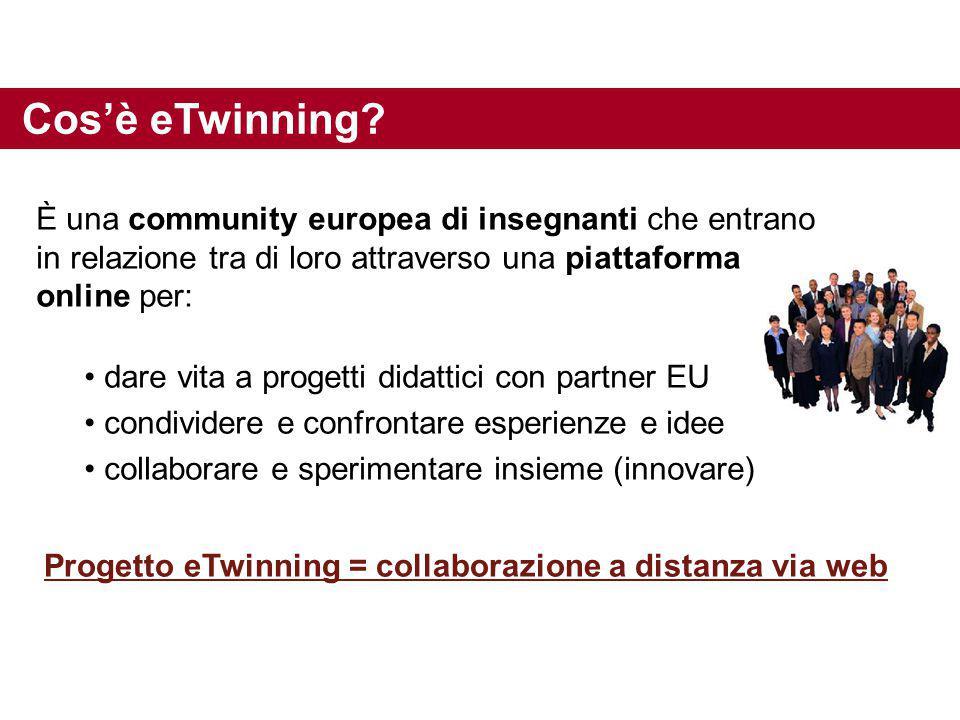 È una community europea di insegnanti che entrano in relazione tra di loro attraverso una piattaforma online per: dare vita a progetti didattici con p