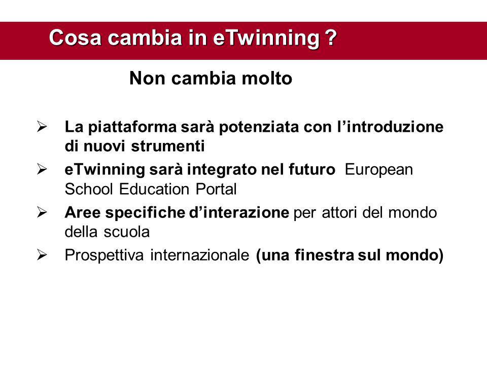 Non cambia molto  La piattaforma sarà potenziata con l'introduzione di nuovi strumenti  eTwinning sarà integrato nel futuro European School Educatio