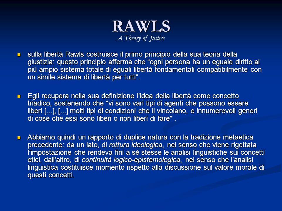 RAWLS sulla libertà Rawls costruisce il primo principio della sua teoria della giustizia: questo principio afferma che ogni persona ha un eguale diritto al più ampio sistema totale di eguali libertà fondamentali compatibilmente con un simile sistema di libertà per tutti .