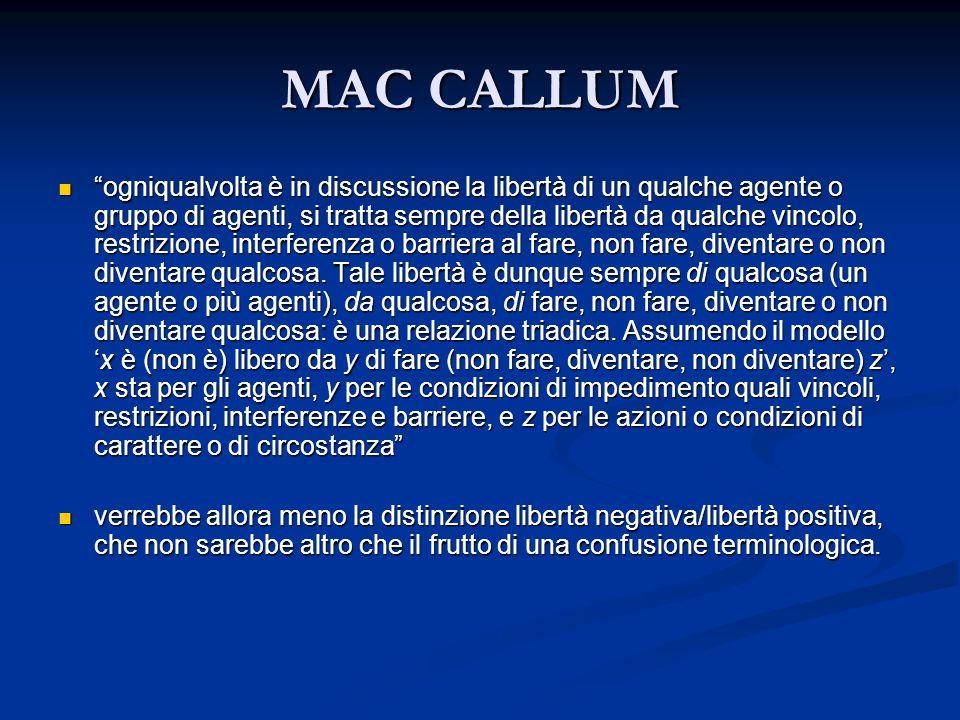 MAC CALLUM ogniqualvolta è in discussione la libertà di un qualche agente o gruppo di agenti, si tratta sempre della libertà da qualche vincolo, restrizione, interferenza o barriera al fare, non fare, diventare o non diventare qualcosa.