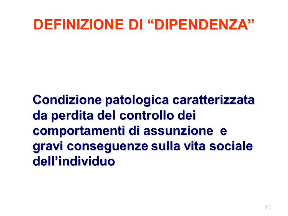 """15 DI """"DIPENDENZA"""" DEFINIZIONE DI """"DIPENDENZA"""" Condizione patologica caratterizzata da perdita del controllo dei comportamenti di assunzione e gravi c"""