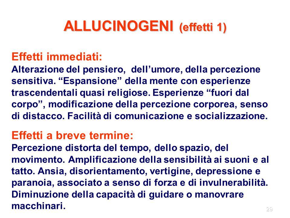 """29 ALLUCINOGENI (effetti 1) Effetti immediati: Alterazione del pensiero, dell'umore, della percezione sensitiva. """"Espansione"""" della mente con esperien"""