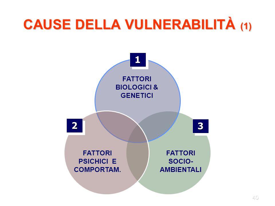 40 CAUSE DELLA VULNERABILITÀ (1) 11 FATTORI BIOLOGICI & GENETICI 22 FATTORI PSICHICI E COMPORTAM. FATTORI SOCIO- AMBIENTALI 33