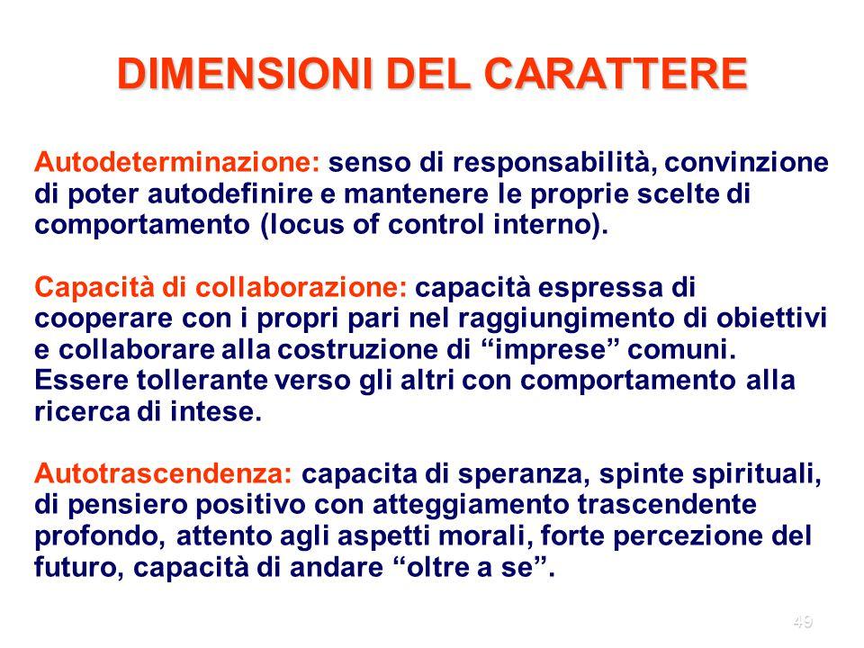 49 DIMENSIONI DEL CARATTERE Autodeterminazione: senso di responsabilità, convinzione di poter autodefinire e mantenere le proprie scelte di comportame