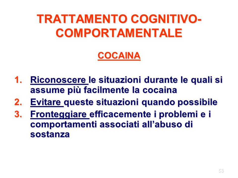 53 TRATTAMENTO COGNITIVO- COMPORTAMENTALE COCAINA 1.Riconoscere le situazioni durante le quali si assume più facilmente la cocaina 2.Evitare queste si
