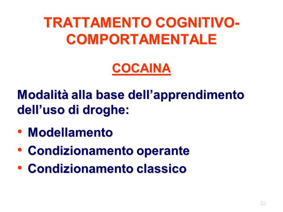 54 TRATTAMENTO COGNITIVO- COMPORTAMENTALE COCAINA Modalità alla base dell'apprendimento dell'uso di droghe: Modellamento Modellamento Condizionamento