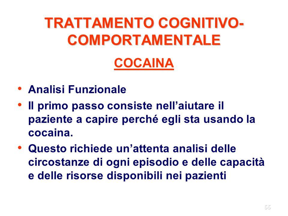 55 TRATTAMENTO COGNITIVO- COMPORTAMENTALE COCAINA Analisi Funzionale Il primo passo consiste nell'aiutare il paziente a capire perché egli sta usando