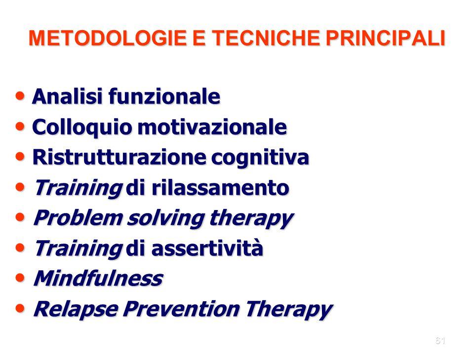 61 METODOLOGIE E TECNICHE PRINCIPALI Analisi funzionale Analisi funzionale Colloquio motivazionale Colloquio motivazionale Ristrutturazione cognitiva