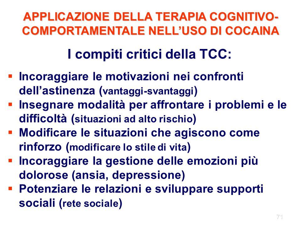 71 I compiti critici della TCC:  Incoraggiare le motivazioni nei confronti dell'astinenza ( vantaggi-svantaggi )  Insegnare modalità per affrontare