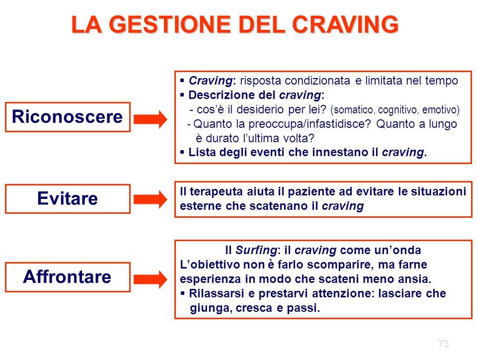 73 LA GESTIONE DEL CRAVING Riconoscere Evitare Affrontare  Craving: risposta condizionata e limitata nel tempo  Descrizione del craving: - cos'è il