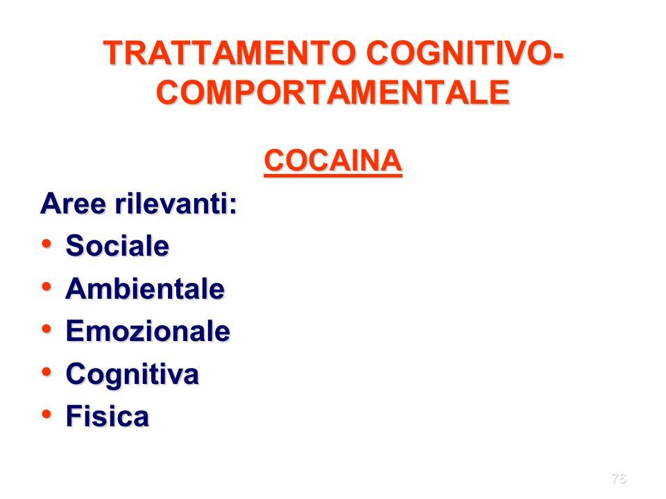 76 TRATTAMENTO COGNITIVO- COMPORTAMENTALE COCAINA Aree rilevanti: Sociale Sociale Ambientale Ambientale Emozionale Emozionale Cognitiva Cognitiva Fisi