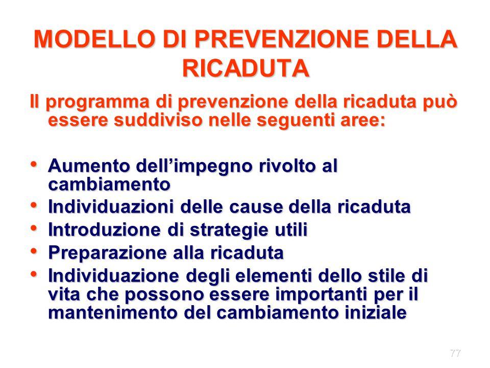 77 MODELLO DI PREVENZIONE DELLA RICADUTA Il programma di prevenzione della ricaduta può essere suddiviso nelle seguenti aree: Aumento dell'impegno riv