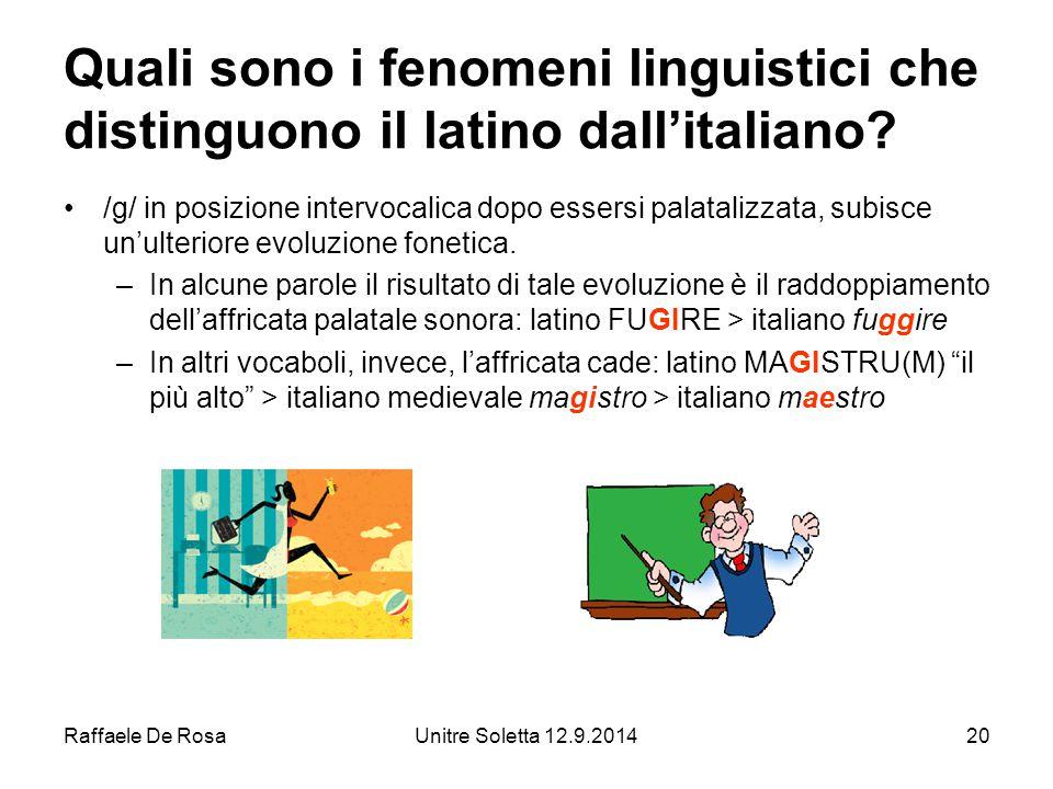 Raffaele De RosaUnitre Soletta 12.9.201420 Quali sono i fenomeni linguistici che distinguono il latino dall'italiano.
