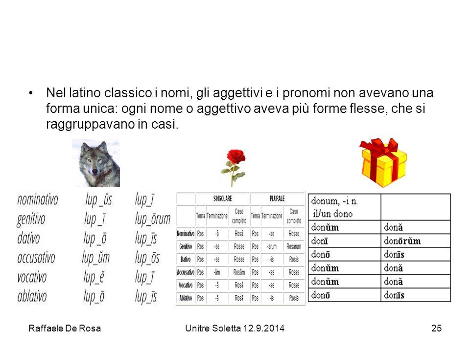 Raffaele De RosaUnitre Soletta 12.9.201425 Nel latino classico i nomi, gli aggettivi e i pronomi non avevano una forma unica: ogni nome o aggettivo aveva più forme flesse, che si raggruppavano in casi.