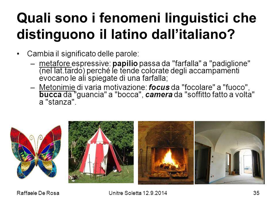 Raffaele De RosaUnitre Soletta 12.9.201435 Quali sono i fenomeni linguistici che distinguono il latino dall'italiano.