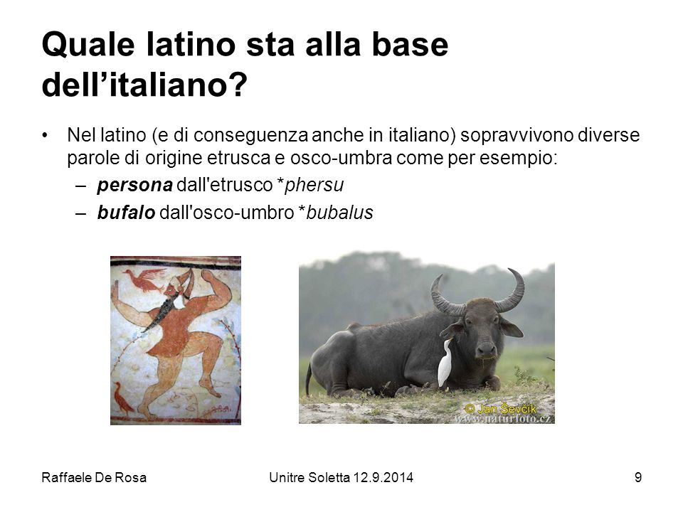 Raffaele De RosaUnitre Soletta 12.9.201410 Quale latino sta alla base dell'italiano.