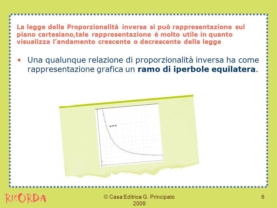 © Casa Editrice G. Principato 2009 6 La legge della Proporzionalità inversa si può rappresentazione sul piano cartesiano,tale rappresentazione è molto