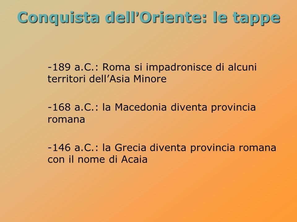 Conquista dell'Oriente: le tappe -189 a.C.: Roma si impadronisce di alcuni territori dell'Asia Minore -168 a.C.: la Macedonia diventa provincia romana