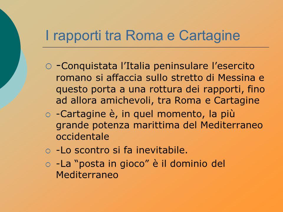 I rapporti tra Roma e Cartagine  - Conquistata l'Italia peninsulare l'esercito romano si affaccia sullo stretto di Messina e questo porta a una rottu