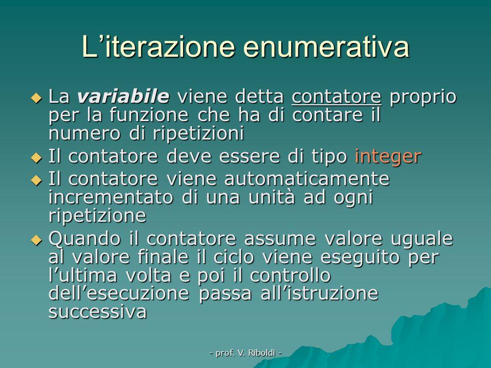 - prof. V. Riboldi - L'iterazione enumerativa In LP per variabile:= val_in fino a val_fin fai inizio istruzione 1; istruzione 2; ……….fine; In TP for v