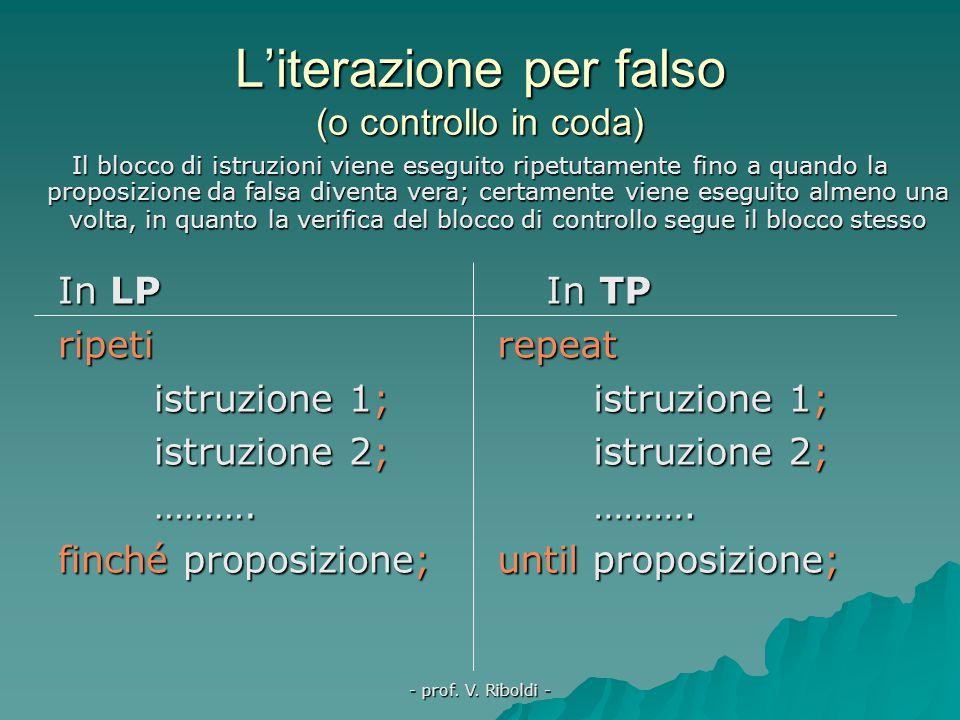 - prof. V. Riboldi - … a ritroso In TP l'iterazione enumerativa può anche procedere dal valore più alto del contatore a quello più basso for variabile