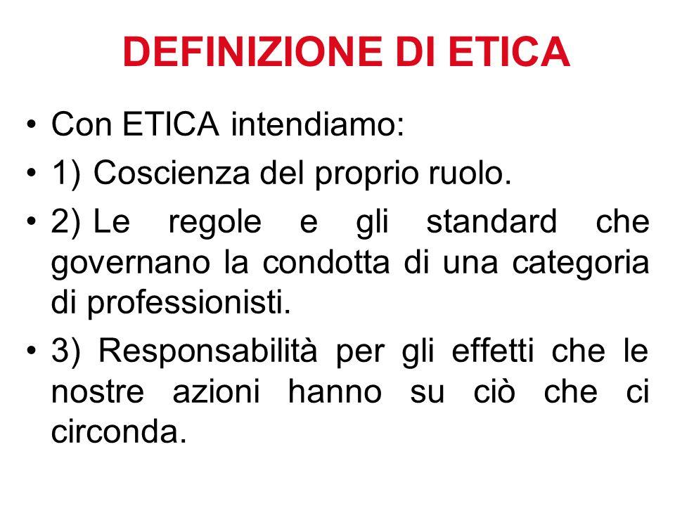 DEFINIZIONE DI ETICA Con ETICA intendiamo: 1)Coscienza del proprio ruolo.