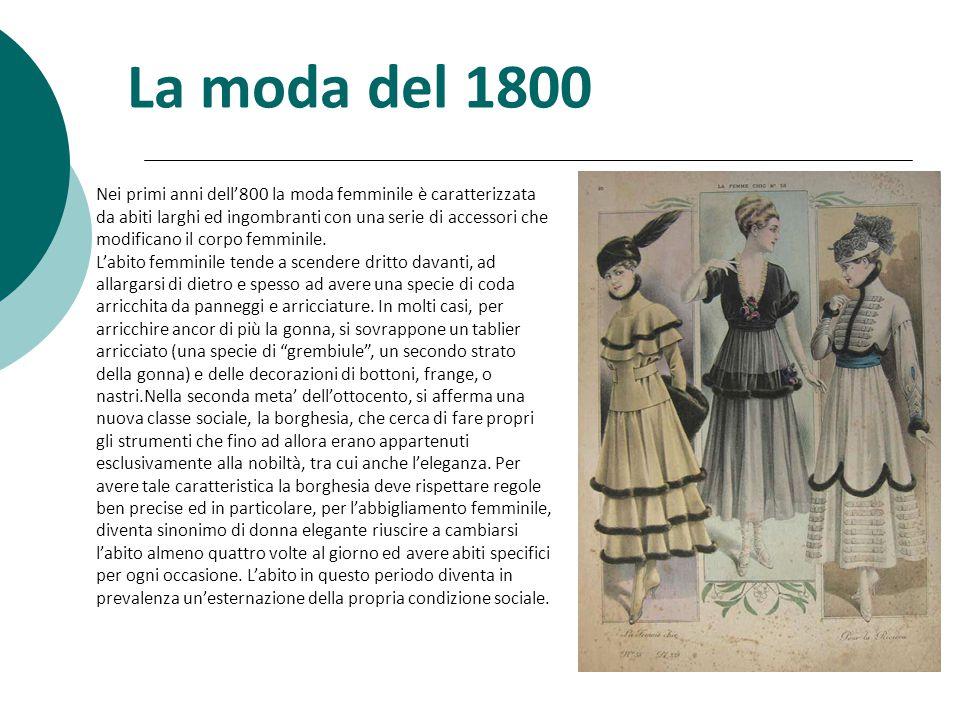 Nei primi anni dell'800 la moda femminile è caratterizzata da abiti larghi ed ingombranti con una serie di accessori che modificano il corpo femminile.