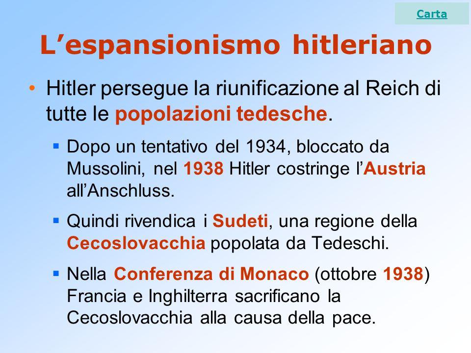 L'espansionismo hitleriano Hitler persegue la riunificazione al Reich di tutte le popolazioni tedesche.