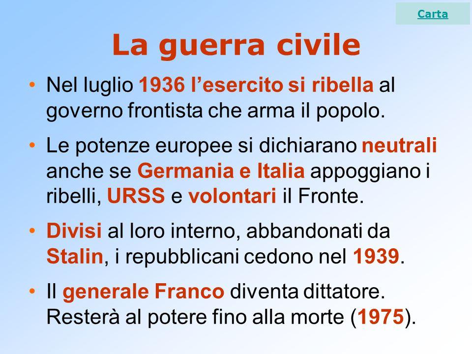 La guerra civile Nel luglio 1936 l'esercito si ribella al governo frontista che arma il popolo.