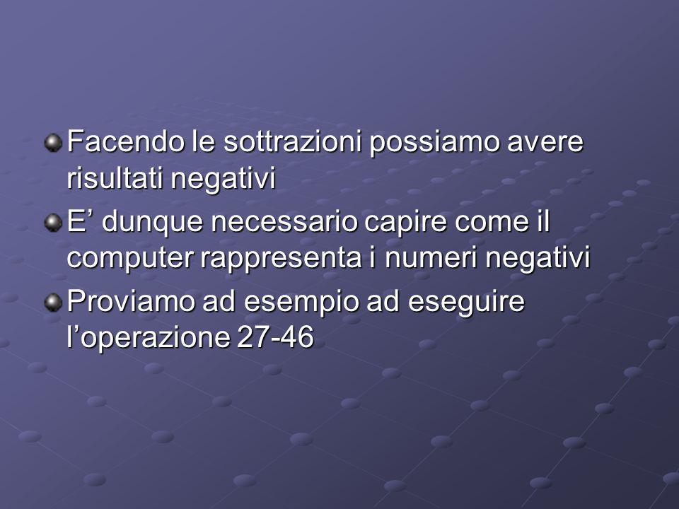 Facendo le sottrazioni possiamo avere risultati negativi E' dunque necessario capire come il computer rappresenta i numeri negativi Proviamo ad esempio ad eseguire l'operazione 27-46