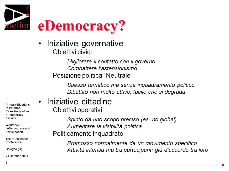 Primary Elections in Palermo: Case Study of an eDemocracy Service Workshop: eDemocracy and Participation The eChallenges Conference Bologna (IT) 23 October 2003 13 Dopo Elezioni perse 36,5% centro-sinistra vs.