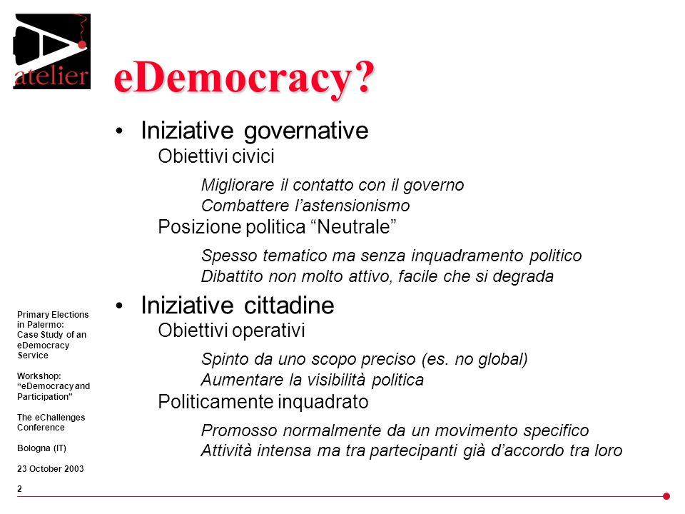 Primary Elections in Palermo: Case Study of an eDemocracy Service Workshop: eDemocracy and Participation The eChallenges Conference Bologna (IT) 23 October 2003 3 Situazione politica SCONFITTE ELETTORALI, MOVIMENTI CITTADINI SPONTANEE, GRUPPI STORICI DELL'ANTI-MAFIA, COALIZIONI TRA PARTITI