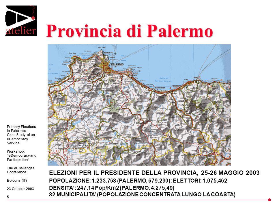 Primary Elections in Palermo: Case Study of an eDemocracy Service Workshop: eDemocracy and Participation The eChallenges Conference Bologna (IT) 23 October 2003 5 Provincia di Palermo ELEZIONI PER IL PRESIDENTE DELLA PROVINCIA, 25-26 MAGGIO 2003 POPOLAZIONE: 1.233.768 (PALERMO, 679.290); ELETTORI: 1.075.462 DENSITA': 247,14 Pop/Km2 (PALERMO, 4.275,49) 82 MUNICIPALITA' (POPOLAZIONE CONCENTRATA LUNGO LA COASTA)