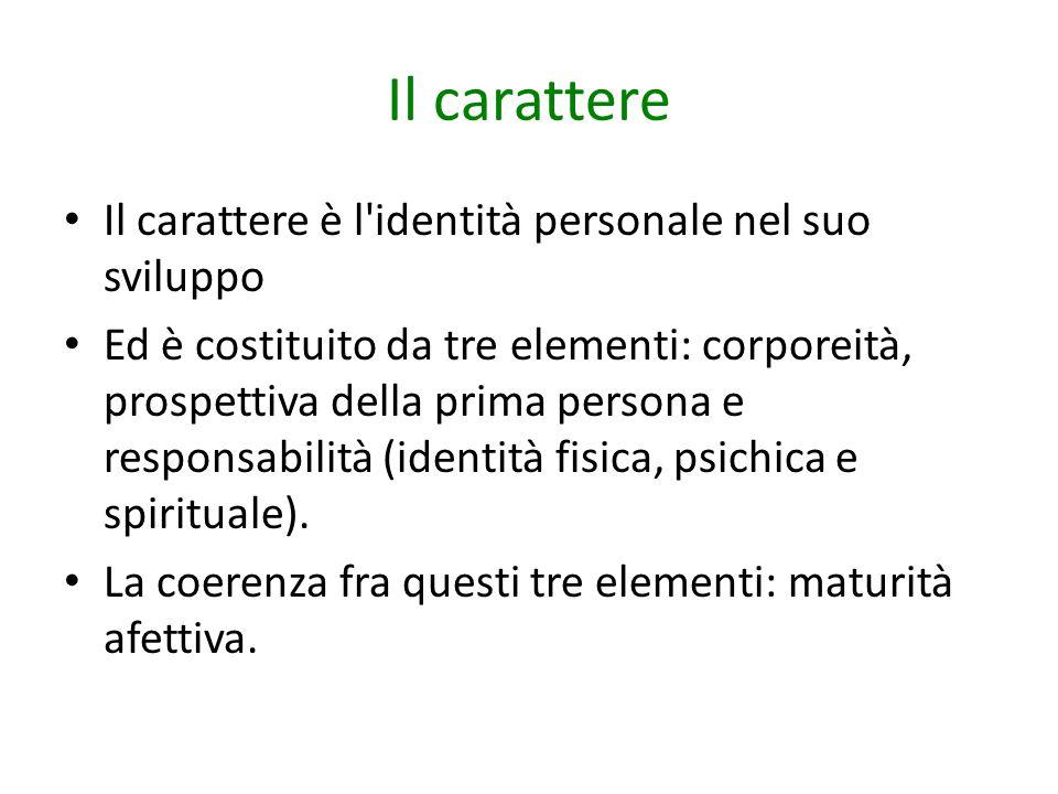 Il carattere Il carattere è l'identità personale nel suo sviluppo Ed è costituito da tre elementi: corporeità, prospettiva della prima persona e respo